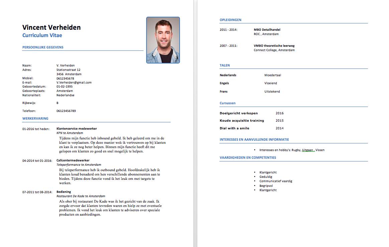 download hier een gratis cv voorbeeld callcenter medewerkers