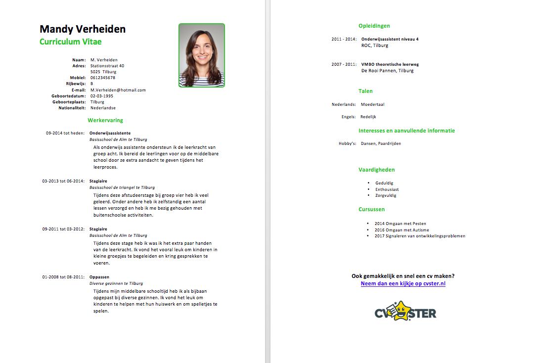 voorbeeld cv onderwijsassistent gratis downloaden in word