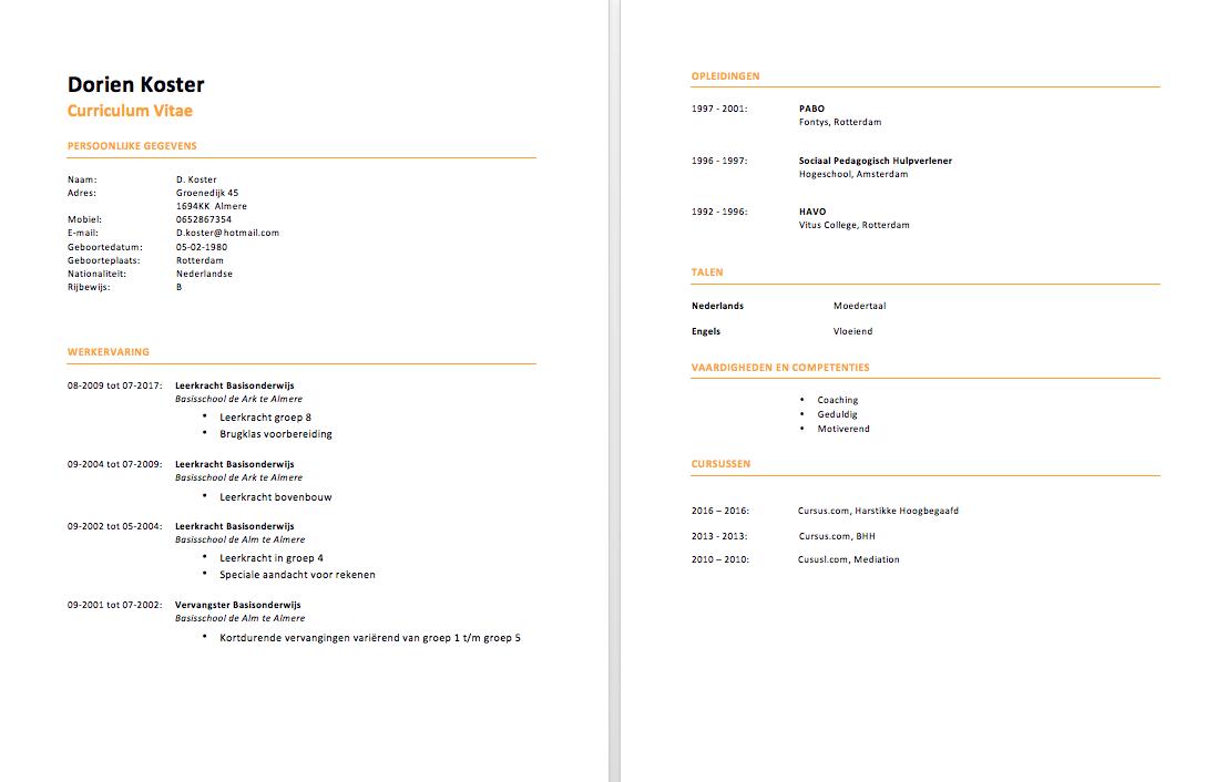 Cv Voorbeeld Leerkracht Gratis Downloaden In Word