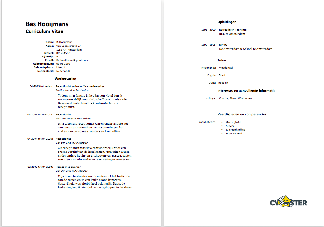 Gratis CV Templates Downloaden 2018   Sollicitatiecursus.com
