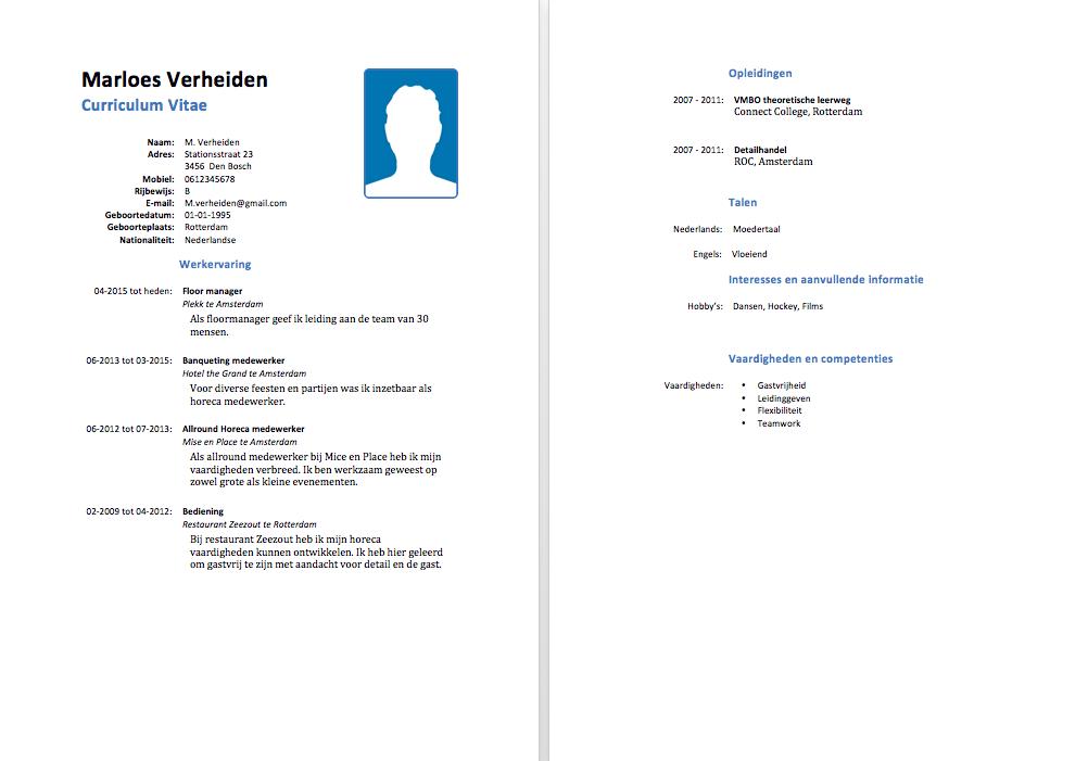 Horeca CV Voorbeeld   Gratis Downloaden   Sollicitatiecursus.com