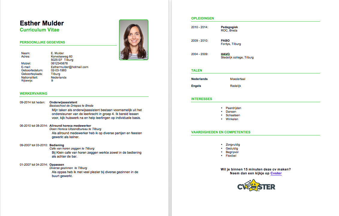 gratis cv voorbeeld - download nu