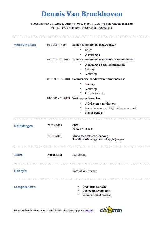 Commercieel medewerker CV Voorbeeld   Gratis Downloaden