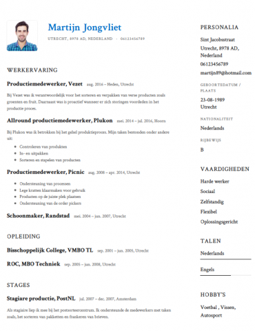 Productiemedewerker CV Voorbeeld   Gratis Downloaden