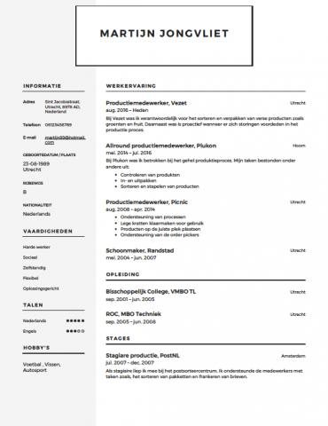 cv productiemedewerker Productiemedewerker CV Voorbeeld   Gratis Downloaden