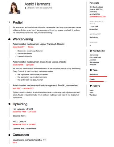voorbeeld profielschets cv Administratief medewerker CV Voorbeeld   Gratis Downloaden