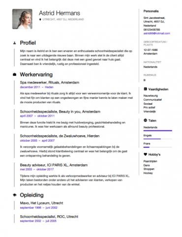 sollicitatie schoonheidsspecialiste Schoonheidsspecialiste CV Voorbeeld   Gratis Downloaden sollicitatie schoonheidsspecialiste