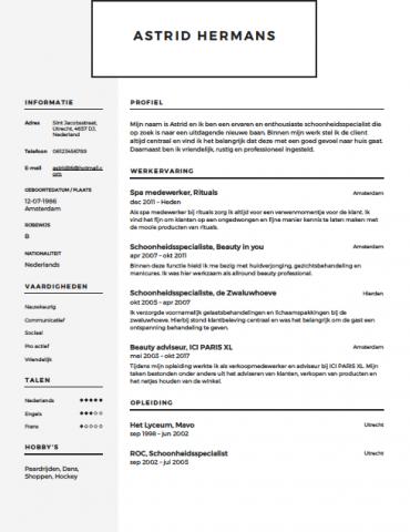 motivatiebrief schoonheidsspecialiste Schoonheidsspecialiste CV Voorbeeld   Gratis Downloaden