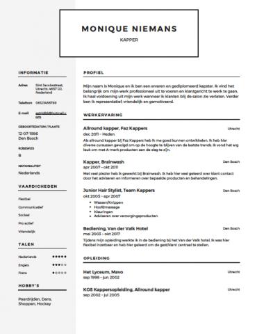 Kapper CV Voorbeeld   Gratis Downloaden   Sollicitatiecursus.com
