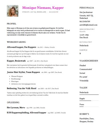 sollicitatiebrief kapster Kapper CV Voorbeeld   Gratis Downloaden   Sollicitatiecursus.com sollicitatiebrief kapster