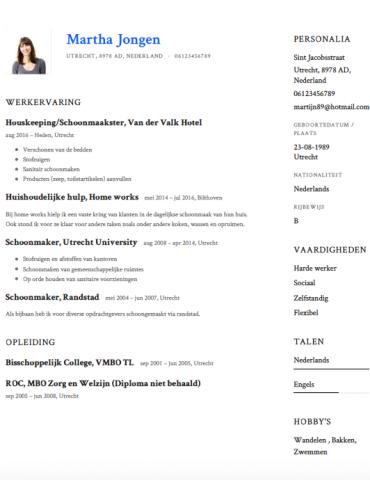 Schoonmaker CV Voorbeeld   Gratis Downloaden   Sollicitatiecursus.com