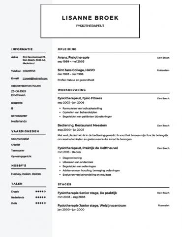 Fysiotherapeut CV Voorbeeld   Gratis Downloaden
