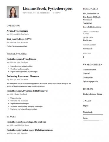 sollicitatiebrief fysiotherapie Fysiotherapeut CV Voorbeeld   Gratis Downloaden  sollicitatiebrief fysiotherapie