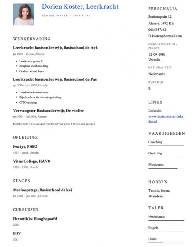 Leerkracht basisonderwijs CV Voorbeeld   Gratis Downloaden
