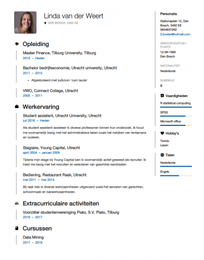 formulier motivatie en curriculum vitae universiteit utrecht