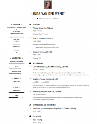 Studenten Cv Voorbeeld 2018 Met Tips Download In Word Pdf
