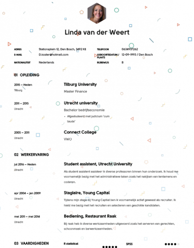 Studenten CV Voorbeeld 2018 met Tips   Download in Word & PDF