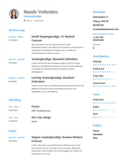 verpleegkundige cv Verpleegkundige CV Voorbeeld   Gratis Download