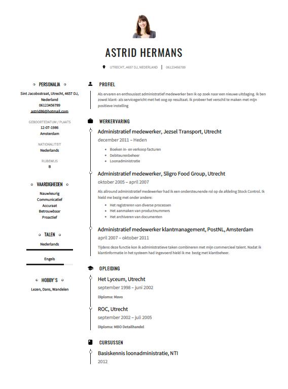 persoonlijk profiel cv administratief medewerker Administratief medewerker CV Voorbeeld   Gratis Downloaden