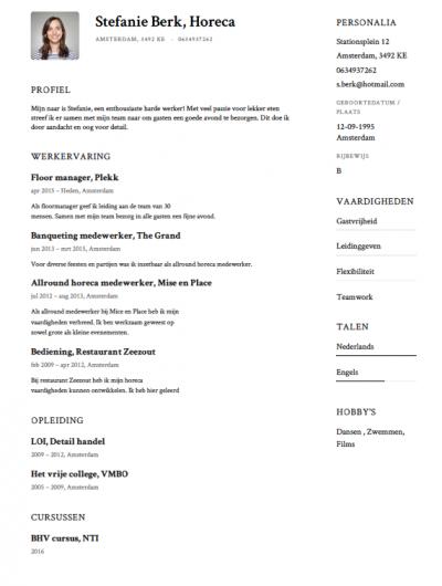 voorbeeld cv horeca medewerker Horeca CV Voorbeeld   Gratis Downloaden   Sollicitatiecursus.com